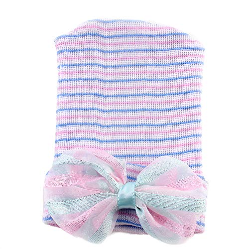Londony Baby Striped Cap Soft Knitted Beanie Newborn Hat Hospital Cups Hat with Lace - Striped Lined Beanie