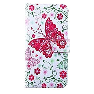 Fashionable Butterfly Flower Pattern PU Leather Full Body Case for iPhone 6 Plus Back Case