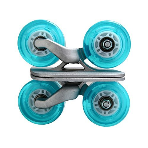 bdb1e6e9b Portable Roller Road Drift Board Skates Anti-slip Plate Aluminum Truck Blue  Wheel with Flash