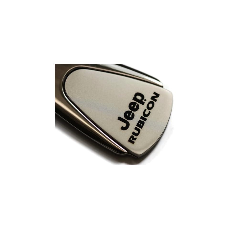 Jeep Rubicon Chrome Teardrop Key Fob Authentic Logo Key Chain Key Ring Keychain Lanyard