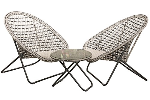Tribeca Patio Lounge Chairs and Table, Set of 3, Modern 3D Cubic Pattern, Folding Legs, Glass Top Table, All Weather Wicker, UV Resistant, Woven, Metal, Gray, Beige and Black, 33 ()