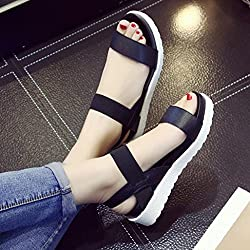 Hemlock Ladies Sandals Shoes Girl's Summer Flat Sandals (US:7, Black)