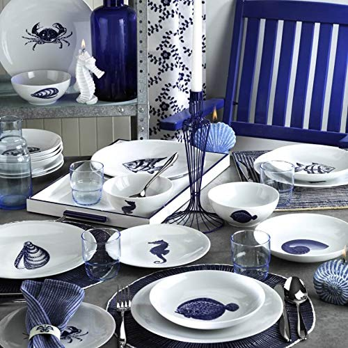 24 Pieces Nautical Porcelain Dinnerware Set, Premium Quality, Made in Turkey, Service for 6