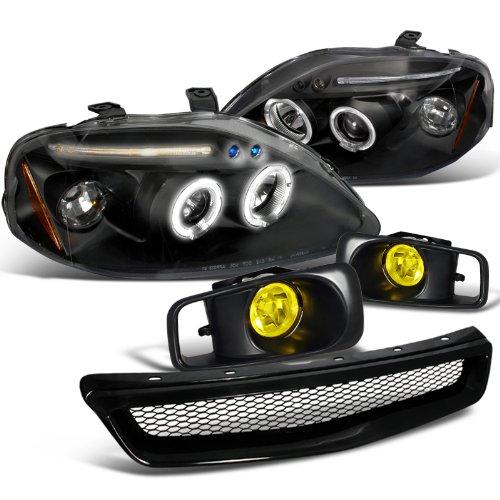 Honda Civic Ex Dx 2 3 4 Door, Black Halo Led Proj Headlights+Yellow Fogs+Grille