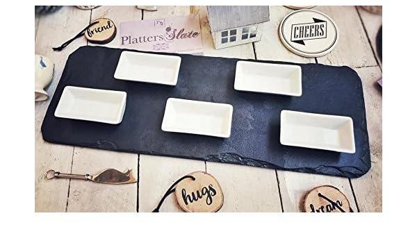 Hermosa Pizarra Grande Plato de Servir con Cinco Cuencos rectangulares de 50 x 18 cm, Seguro para Alimentos/casa de Advertencia, Boda, cumpleaños: Amazon.es: Hogar