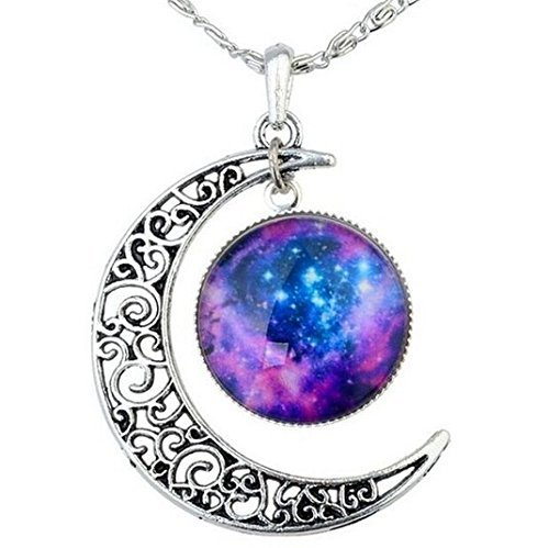 [Women Fashion Crescent Moon Pendant Necklace Charm Sky Galaxy Universe Time Gem Necklace (Type5)] (Crescent Moon Pendant Necklace)