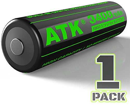 ATK 3.7v 18650 Battery | Built-in PCB Protection Board | 3400 mAh Li-ion Rechargeable Batteries (1-Pack) Lion Rechargeable Batt