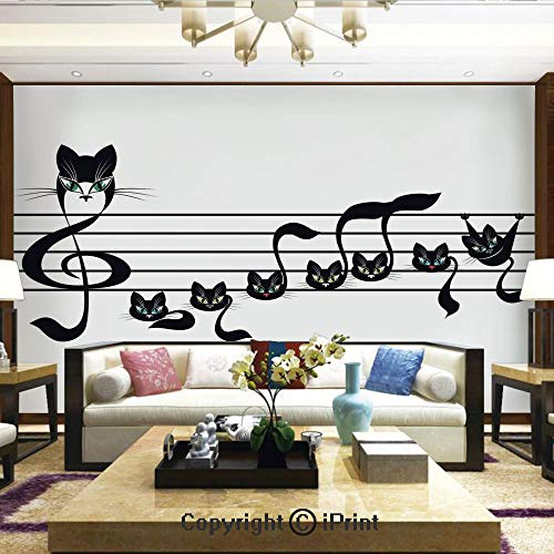Lionpapa_mural Wall Mural Showing All They Beauty Extremely Detailed Image, Notes Kittens Kitty Cat Artwork Notation Tune Children Halloween Stylized,Home Decor - 100x144 inches