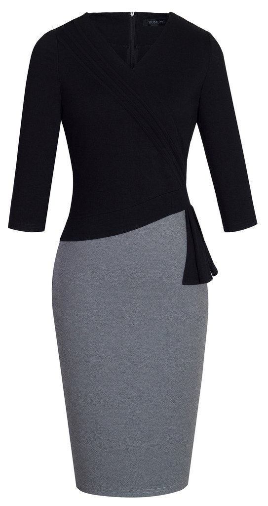 HOMEYEE Women's Elegant Patchwork 3/4 Sleeve Wear to Work Bodycon Dress B333 (10, Black + Gray)