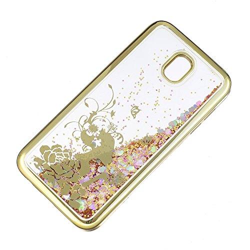 LuckyW Enchapado Caja de Bling for Samsung Galaxy J7 (2017) (European Version) TPU Silicone Transparente Cubierta de la Contraportada del Color del SuaveSuave Ligero Ultra delgado Delgado [Resistente  Princesa