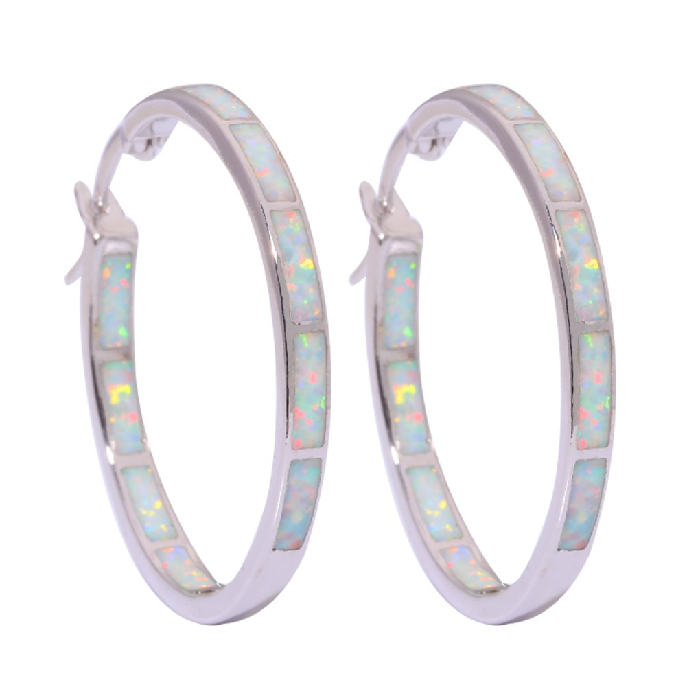 CiNily Created White Fire Opal Rhodium Plated for Women Jewelry Gemstone Hoop Earrings 1 1/4''