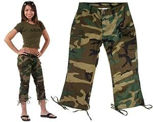 Rothco Women's Capri Pants, Woodland Camo, 1-2