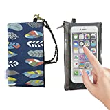 Tainada Smartphone Wallet Purse Pouch with Clear View Window Touch Screen & Neck Strap Lanyard for iPhone 8, 7 Plus, Samsung Galaxy Note 8, S8+ (Feather Pattern Navy Blue)