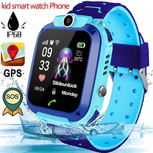 Kid Smartwatch Phone for 3-12 Years Old Boys Girls with GPS Tracker Two-Way Call SOS Anti-Lost Alarm SIM Card Slot Touch Screen Games Camera Kid Wrist Watch Outdoor Sport School Travel Birthday Gift