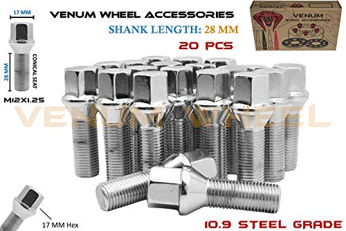 Venum wheel accessories Complete Set of M12x1.25 Chrome Tapered Conical Seat Lug Bolts 28 MM Factory Shank Length Works with Jeep Fiat Dodge Chrysler Alfa Romeo Factory & Aftermarket Wheels