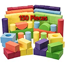 EVA Foam Building Blocks And Stacking Blocks -Non Toxic- 150 Pcs Creative And Educational- With Reusable zippered Bag By Dragon Too