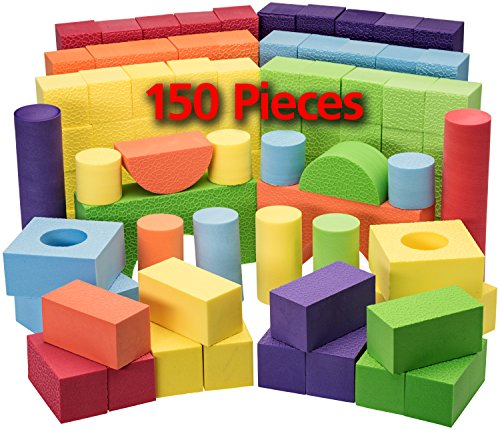 Dragon Too Foam Blocks and Stacking Blocks -Non Toxic- 150 Pcs Creative and Educational- with Reusable Zippered ()