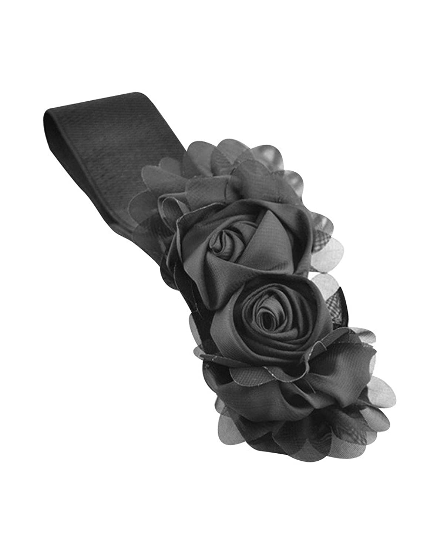 Bestgift womens Elegant Big Rose Elastic Waist Muti-Color Wide Belt
