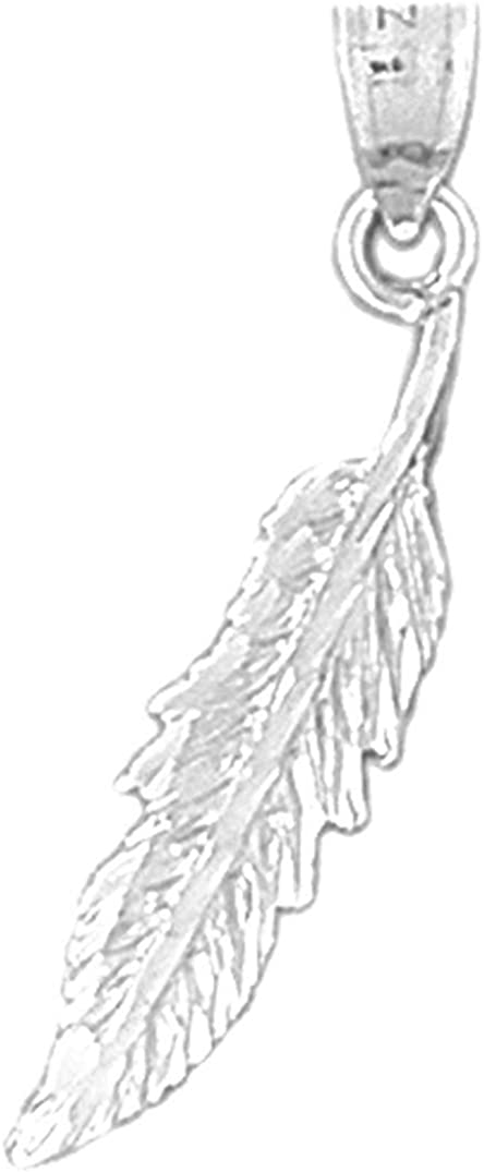 Jewels Obsession Silver Feather Necklace Rhodium-plated 925 Silver Feather Pendant with 18 Necklace
