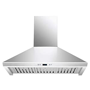 "DKB 36"" Inch Range Hood Kitchen Vent In Brushed Stainless Steel With 600 CFM"