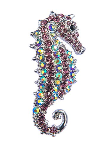 (Alilang Aurora Borealis Crystal Rhinestone Seahorse Fish Convertible to Pendant Animal Brooch Pin, Purple)