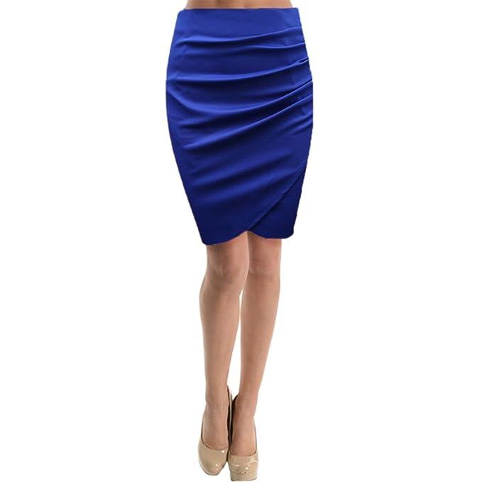 3fb852c2e Cekaso Women's Tulip Skirt High Waist Slim Fit Knee Length Draped Pencil  Skirt, Blue,