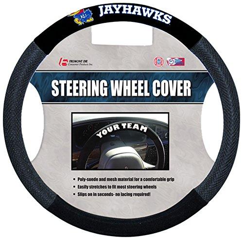 Suede Cover Poly Wheel Steering - NCAA Kansas Jayhawks Poly-Suede Steering Wheel Cover