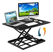"Height Adjustable Standing Desk Converter Ergonomic Sit Stand Black Riser Large Top Size 32"" Inch Gas Spring Workstation Anti Fatigue Up And Down Position Dual Monitor Computer Shelf Home Office"