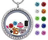 Best Girl's Birthday Gift, Sweet Sixteen Floating Living Memory Locket Charm, Birthstone Necklace