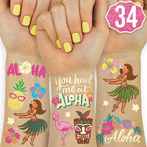 xo, Fetti Hawaiian Party Decorations Flash Tattoos for Kids - 34 styles | Summer Luau Decor, Tropical Party Favors, Aloha, Palm Tree, -