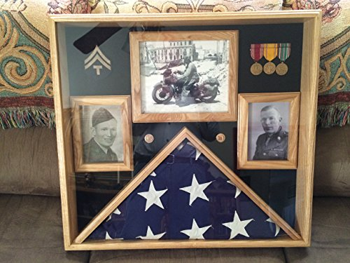 5x9.5 Burial Flag Display Case, Military 5x9.5 Flag Display With Certificate/Picture Frames, Memorial Flag Display Case