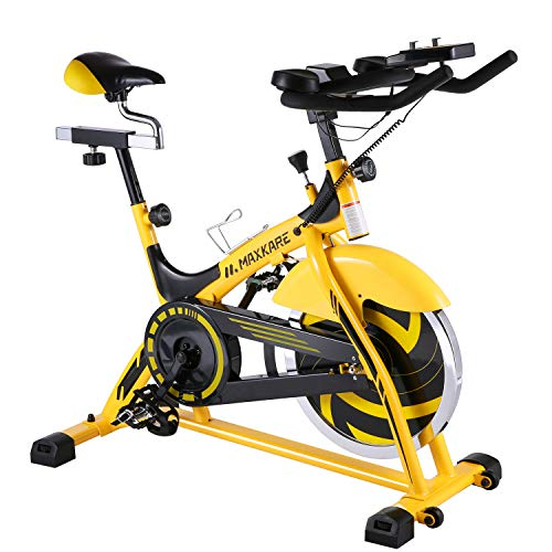 MaxKare Stationary Bike Belt Drive Spin Bike with Quiet Flywheel & Pulse Sensor/LCD Monitor/Ipad Mount Pro Indoor Cycling Bike Exercise Bike w/Adjustable Handlebar for Home Cardio Gym Workout (Yellow)