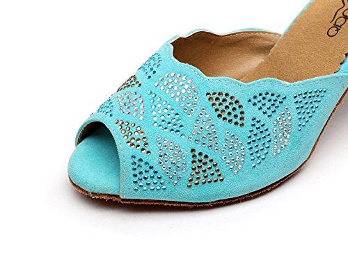 Chaussures Eu38 Hauts Chacha 5cm Jazz talon8 Our39 Satin De Sandales Samba 5 Talons Sparking Modern Cristaux Femme Jshoe Salsa Tango Latin Lightblue uk5 1UqZr1wx