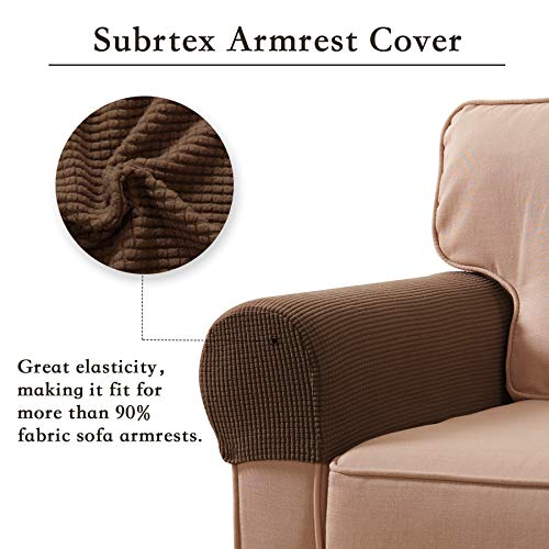 Subrtex Spandex Stretch Armrest Covers Set of 2 (Coffee) by Subrtex (Image #2)