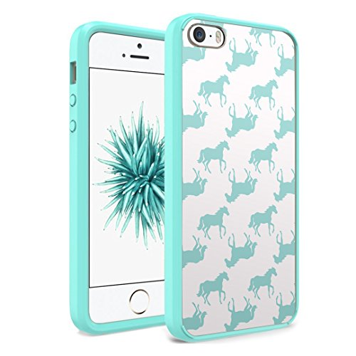 iPhone SE Case, iPhone 5s / iPhone 5 Case, Capsule-Case Hybrid Slim Hard Back Shield Case with Fused TPU Edge Bumper (Teal Green) for iPhone SE / iPhone 5s / iPhone 5 - (Mint Horse)