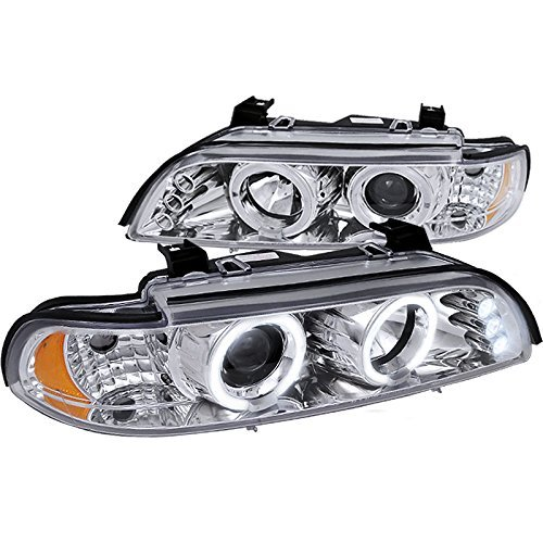 Spec-D Tuning 2LHP-E3997-TM Bmw E39 5-Series 528I 530I 540I Dual Halo Led Chrome Projector Headlights