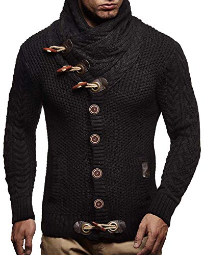 Leif Nelson  Men's Knitted Turtleneck Cardigan - XX-Large - Black