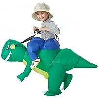 美亚爆款 恐龙充气服装 绿色 儿童版2-6岁儿童玩具服装可以骑行抖音同款热门网红霸王龙坐骑 自动充气(需自配4节5号电池)【由于快递原因,新疆、西藏不能发货,麻烦不要下单,谢谢】