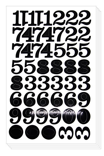 Numbers Arabic Sticker - Primary Digit Count Label Decorative (Set of 5 sheets, Black)