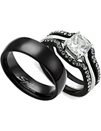 HIS & HERS 4PC BLACK STAINLESS STEEL WEDDING ENGAGEMENT RING & CLASSIC Band SET
