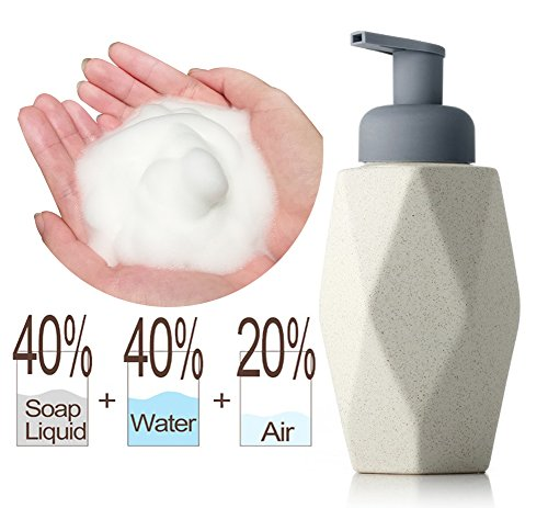 Yzakka Foaming Soap Dispenser Shower Gel Shampoo Dispenser for Bar Kitchen Bathroom Laundry Countertop Refillable Containers Ceramic Bottle 480ml 16.4oz