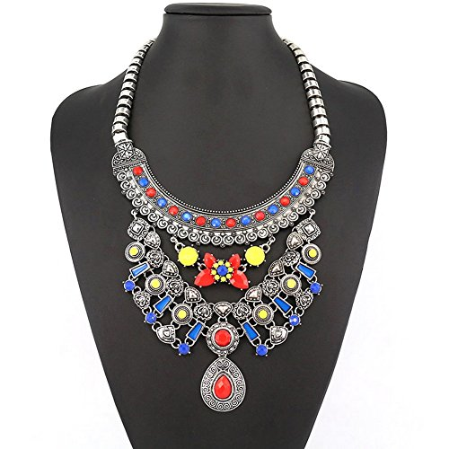 PSNECK Necklace Hot selling Colorful Stone Pendant long chain costume (Diy Plus Size Halloween Costumes)