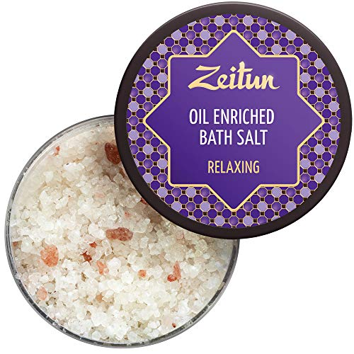 Zeitun Oil Enriched Bath Salts For Relaxation - Organic Himalayan Pink Salt - Dead Sea Bath Salt With Lavender & Juniper and Eucalyptus Essential Oils - Promotes Healthy & Smooth Skin 12 oz