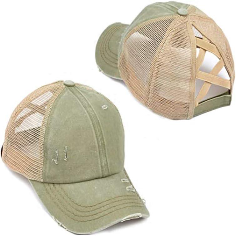 ADIUMA Fashionable Womens Baseball cap Ponytail Messy Bun Baseball cap Criss Cross Hat