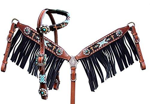 Showman PonyサイズビーズNavajo Headstall and Breast襟セットwithブラックスエードフリンジ   B07DP6L9P8