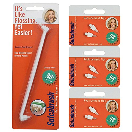 - 1 Sulcabrush Handle and 3 Replacement Tip Packs Bundle
