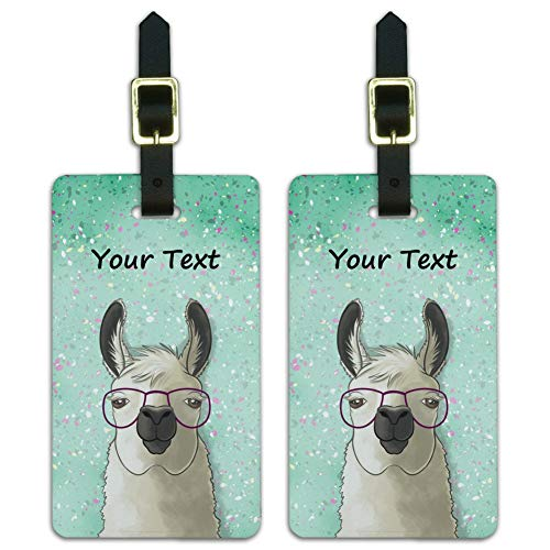 Personalized Custom Hip Llama with Glasses 1 Line Luggage ID Tags Cards Set of 2