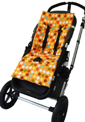 Tivoli Couture Nu Comfort Memory Foam Stroller Pad and Seat Liner, Argyle orange by Tivoli Couture