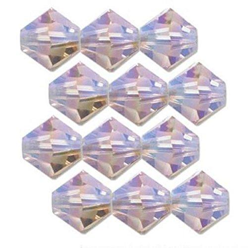 Light Amethyst Earrings Swarovski (12 Lt Amethyst AB 2X Swarovski Crystal Bicone Beads 4mm)