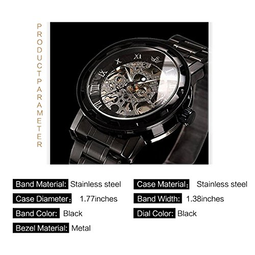 Watch,Mens Watch,Luxury Classic Skeleton Mechanical Stainless Steel Watch With Link Bracelet,Dress Automatic Wrist Hand-Wind Watch (black)